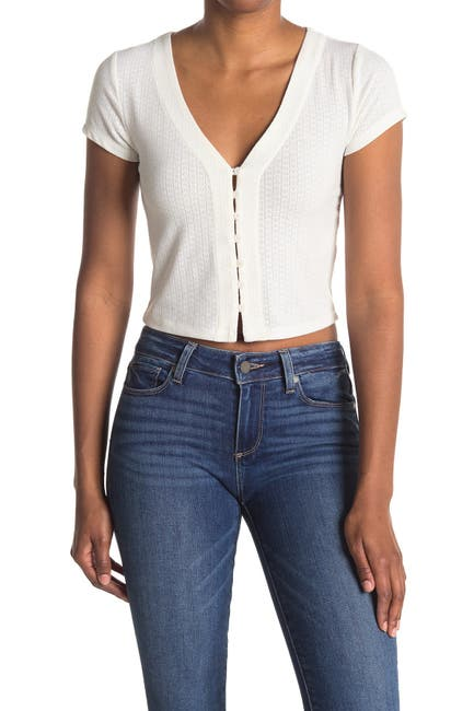 Image of Elodie Pointelle Button Down Cropped T-Shirt