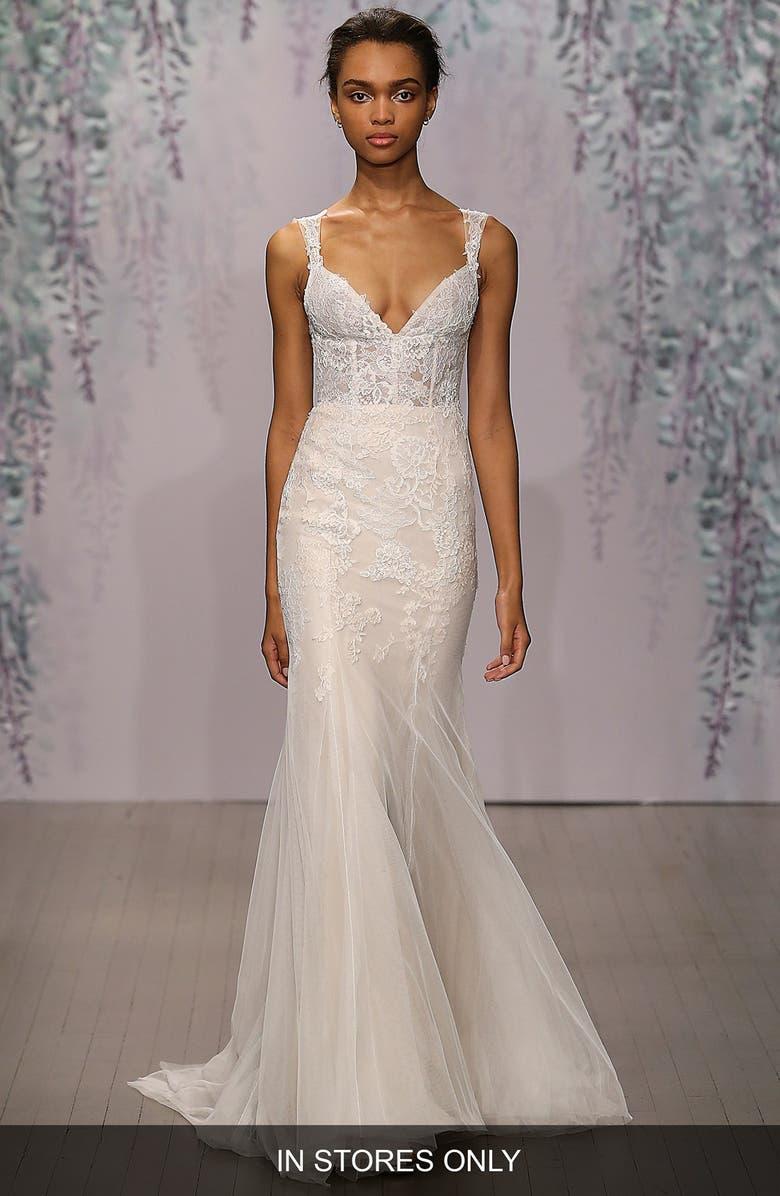MONIQUE LHUILLIER Dulce V-Neck Lace Tulle Sheath Dress, Main, color, SILK WHITE/ SORBET