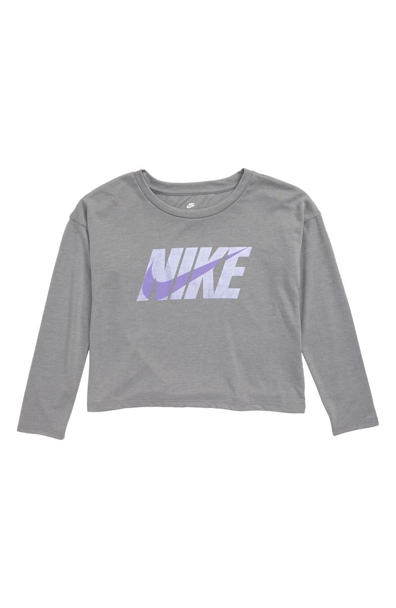 NIKE Metallic Logo Graphic Tee, Main, color, DK GREY HEATHER
