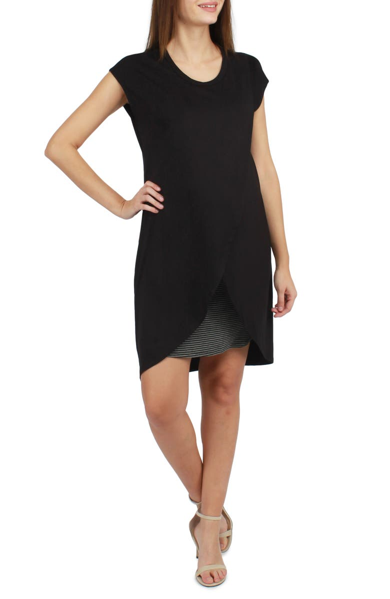SAVI MOM Lille Layered Maternity/Nursing Dress, Main, color, BLACK