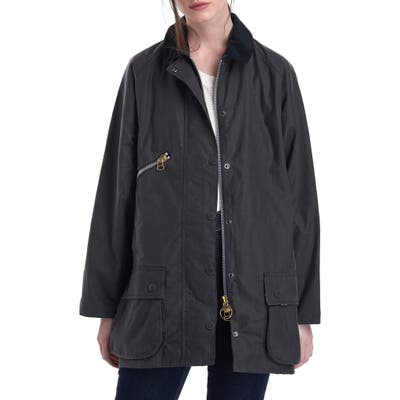Barbour X Alexachung Edith Weatherproof Waxed Cotton Jacket, US / 8 UK - Grey