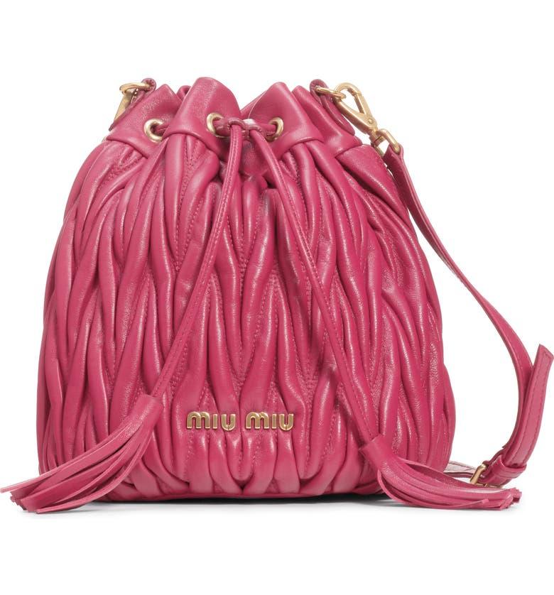MIU MIU Small Matelassé Leather Bucket Bag, Main, color, MAGENTA