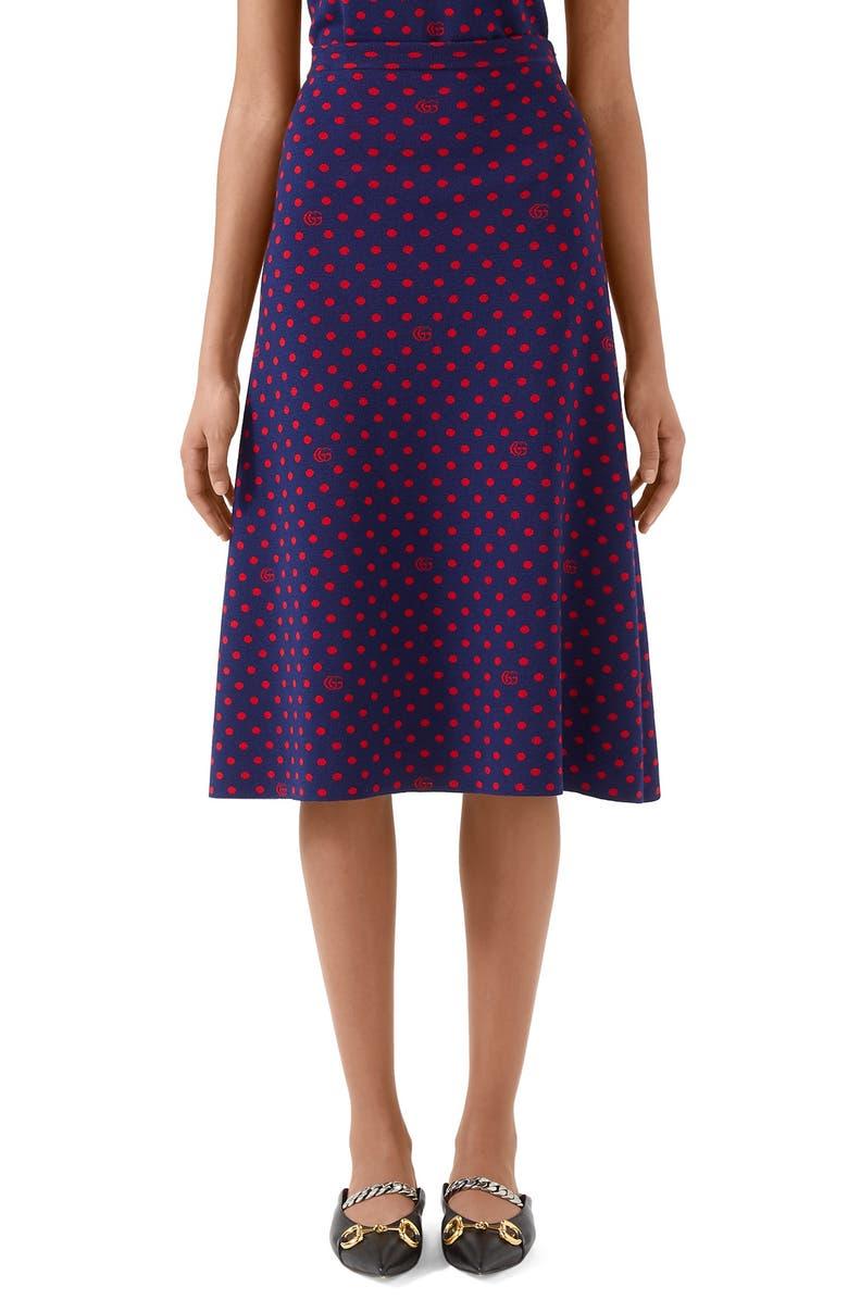 GUCCI Polka Dot & Double G Logo Wool Blend Skirt, Main, color, BLUE/ ORANGE