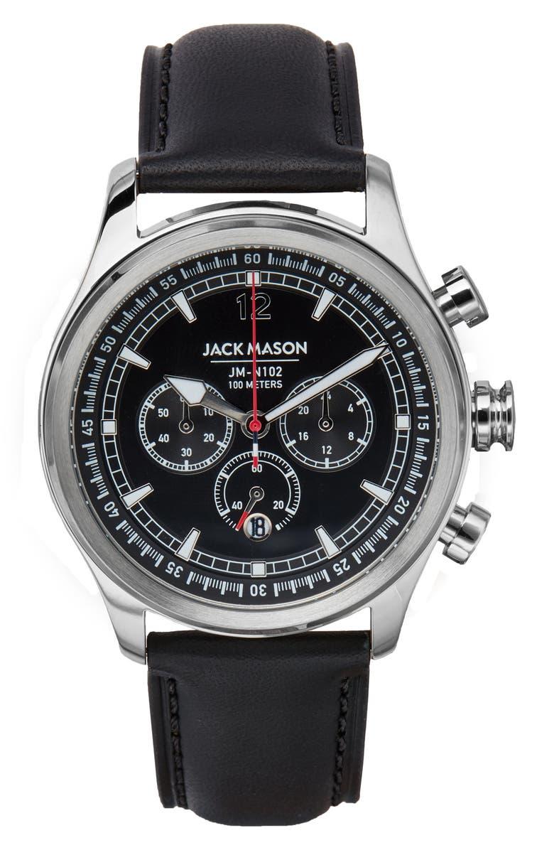 JACK MASON Nautical Chronograph Leather Strap Watch, 42mm, Main, color, 001
