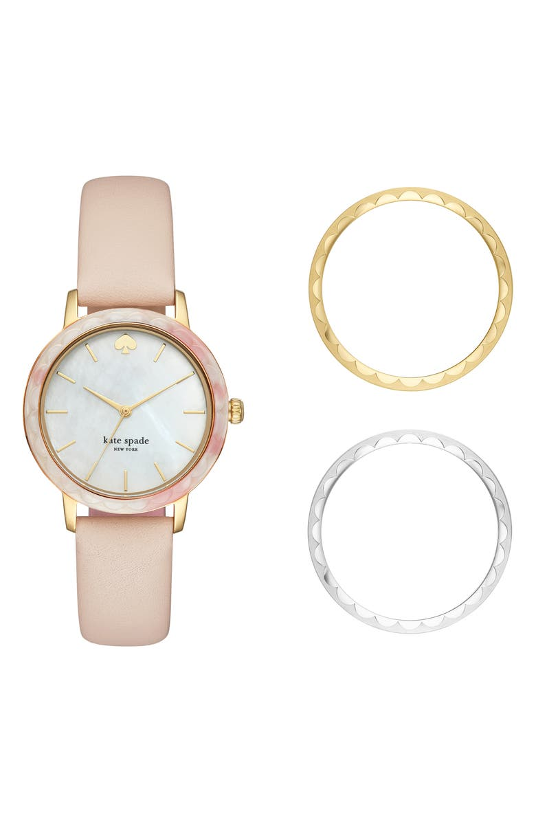 KATE SPADE NEW YORK morningside scallop watch set, 34mm, Main, color, BLUSH/ MOP/ GOLD