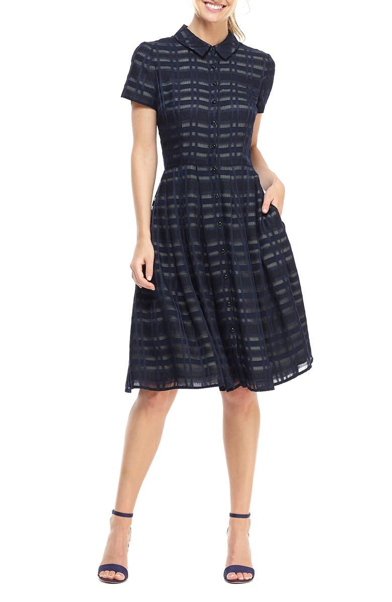 GAL MEETS GLAM COLLECTION Mackenzie Windowpane Jacquard Shirtdress, Main, color, 400