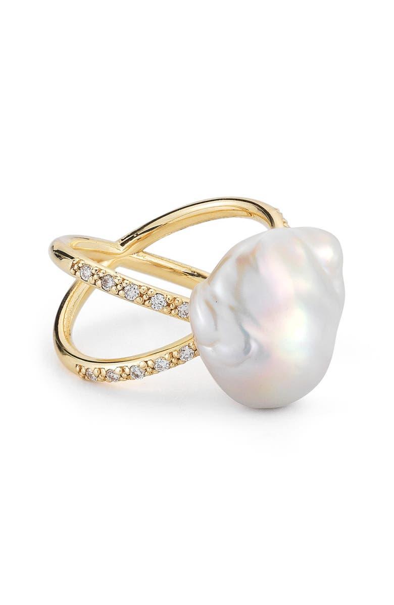 MIZUKI Pearl & Diamond Crossover Ring, Main, color, YELLOW GOLD/ WHITE PEARL