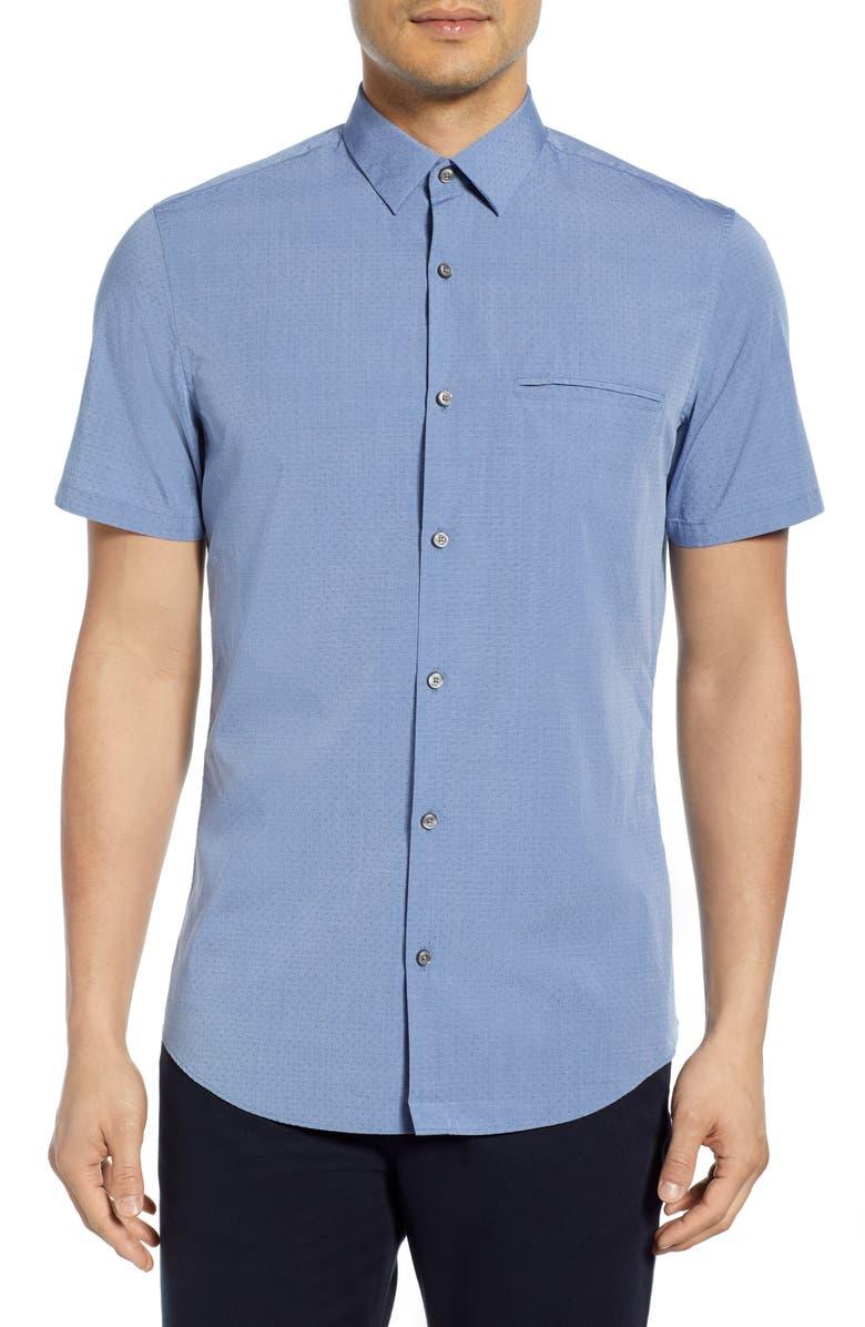 CALIBRATE Dobby Dot Short Sleeve Cotton Shirt, Main, color, BLUE BIJOU DOBBY