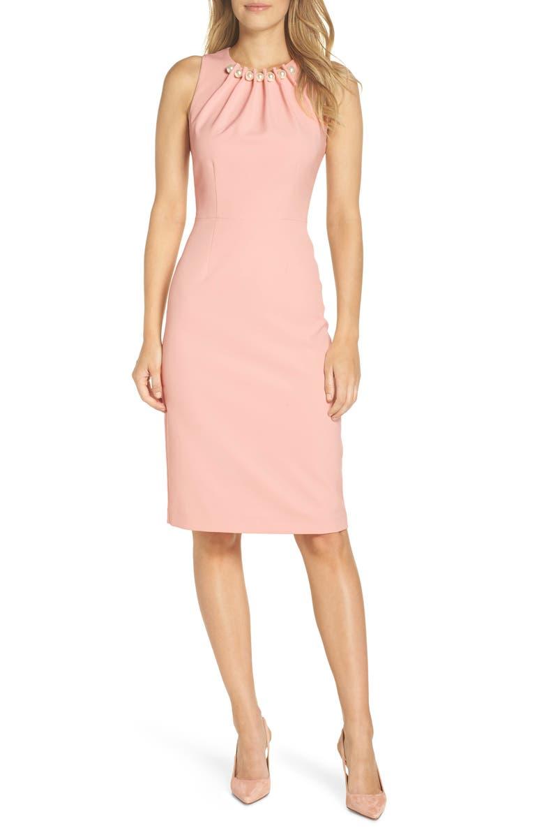 HARPER ROSE Embellished Neck Sheath Dress, Main, color, BLUSH