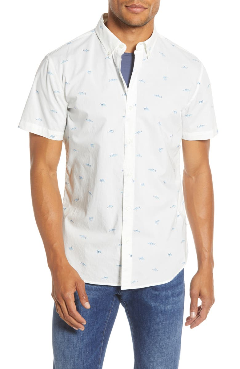 BONOBOS Slim Fit Print Shark Short Sleeve Button-Down Shirt, Main, color, SHARKING AROUND DUSK BLUE