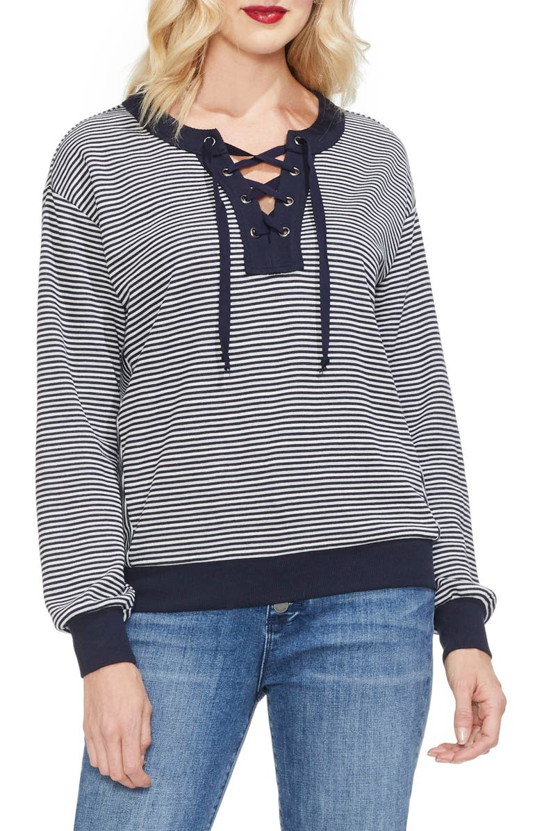 VINCE CAMUTO Stripe Knit Top, Main, color, CLASSIC NAVY