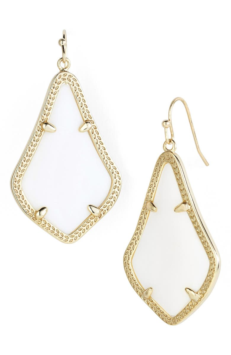KENDRA SCOTT Alex Drop Earrings, Main, color, WHITE MOTHER OF PEARL/ GOLD