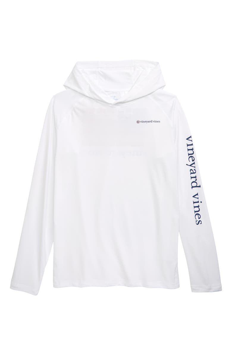 VINEYARD VINES USA Release Flags Performance Hooded Pullover, Main, color, WHITE CAP