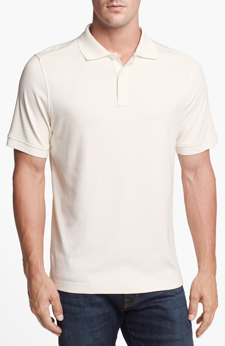 NORDSTROM MEN'S SHOP Regular Fit Interlock Polo, Main, color, WHITE SNOW