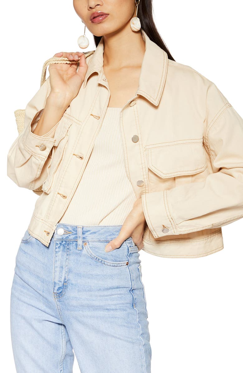 TOPSHOP Avril Shirt Jacket, Main, color, BEIGE