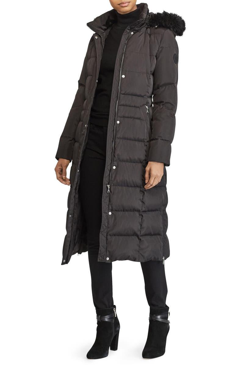 LAUREN RALPH LAUREN Faux Fur Trim Down & Feather Fill Maxi Coat, Main, color, 019