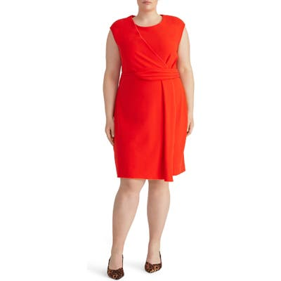 Plus Size Rachel Roy Collection Asymmetrical Twist Knit Dress, Red