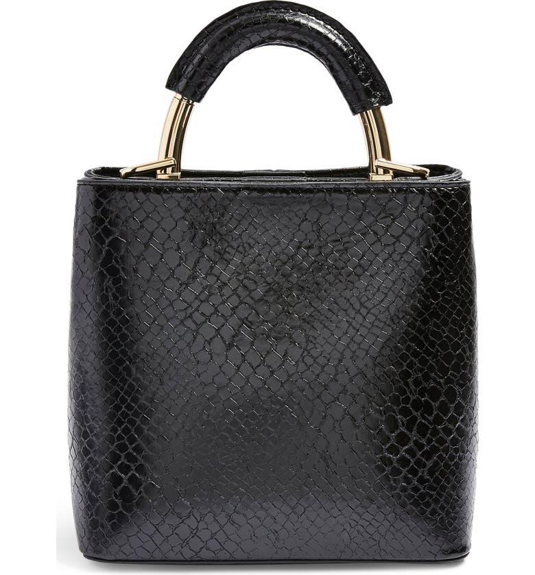 TOPSHOP Mini Tux Faux Leather Tote, Main, color, BLACK