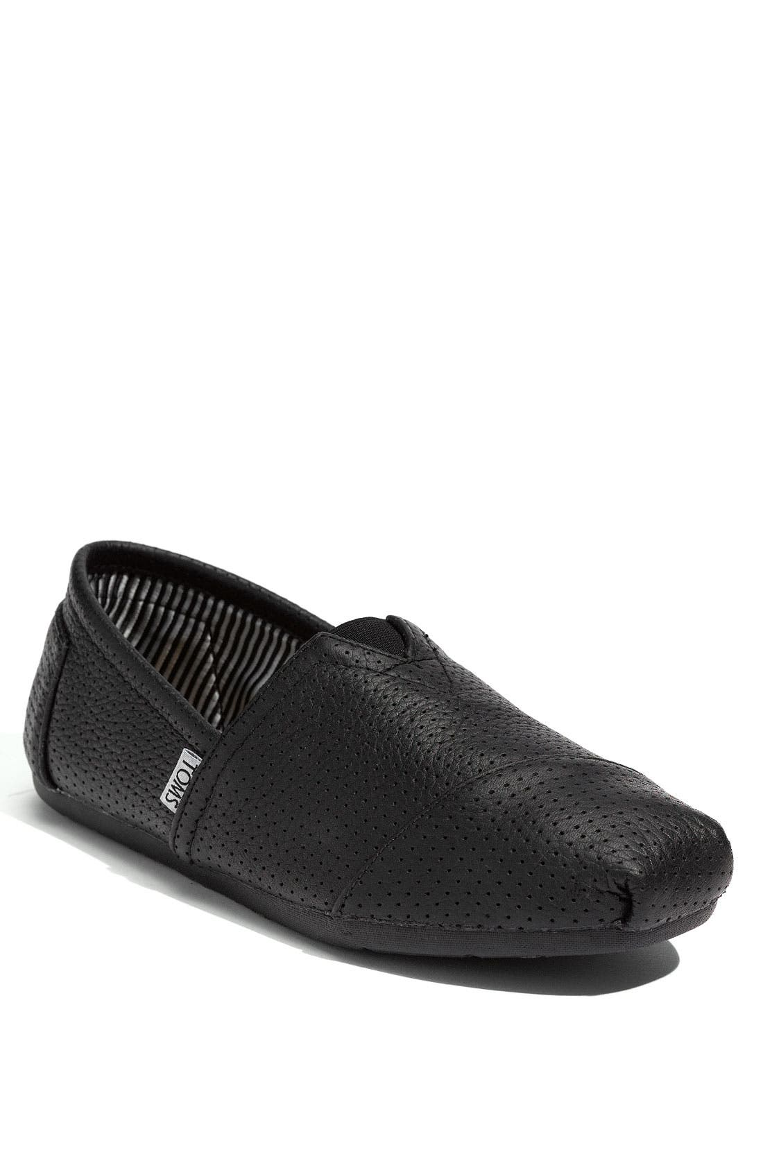 Perforated Leather Slip-On, Main, color, 001