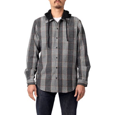 Lira Clothing Willows Hooded Flannel Button-Up Shirt, Grey