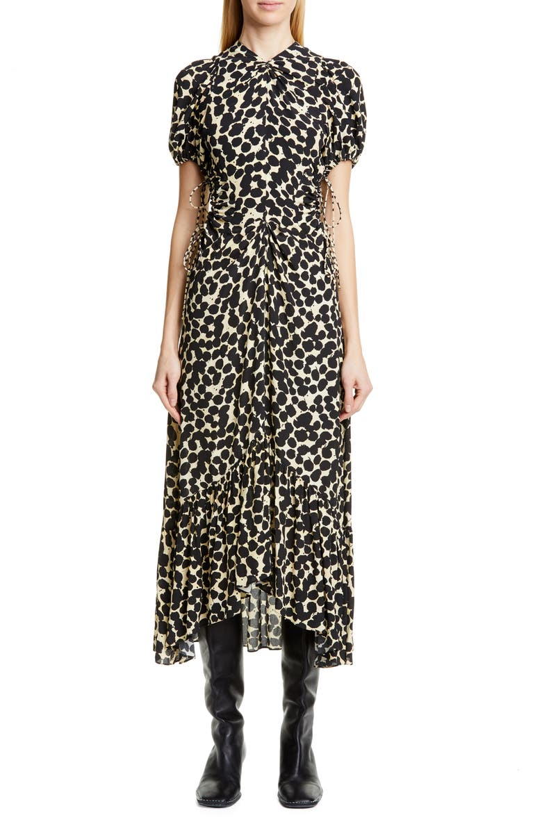 PROENZA SCHOULER Dot Print Ruched Cutout Midi Dress, Main, color, YELLOW PAINTED DOT
