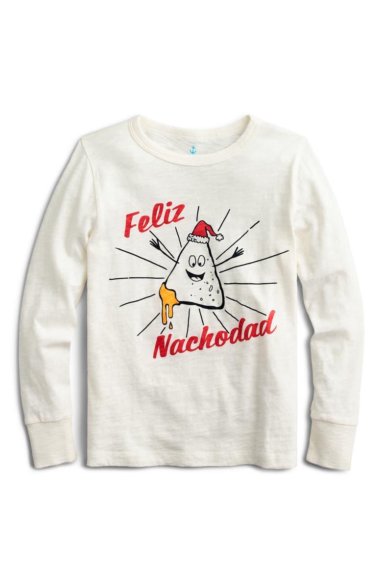 CREWCUTS BY J.CREW Feliz Nachodad Long Sleeve Slub Cotton T-Shirt, Main, color, FELIZ NACHODAD