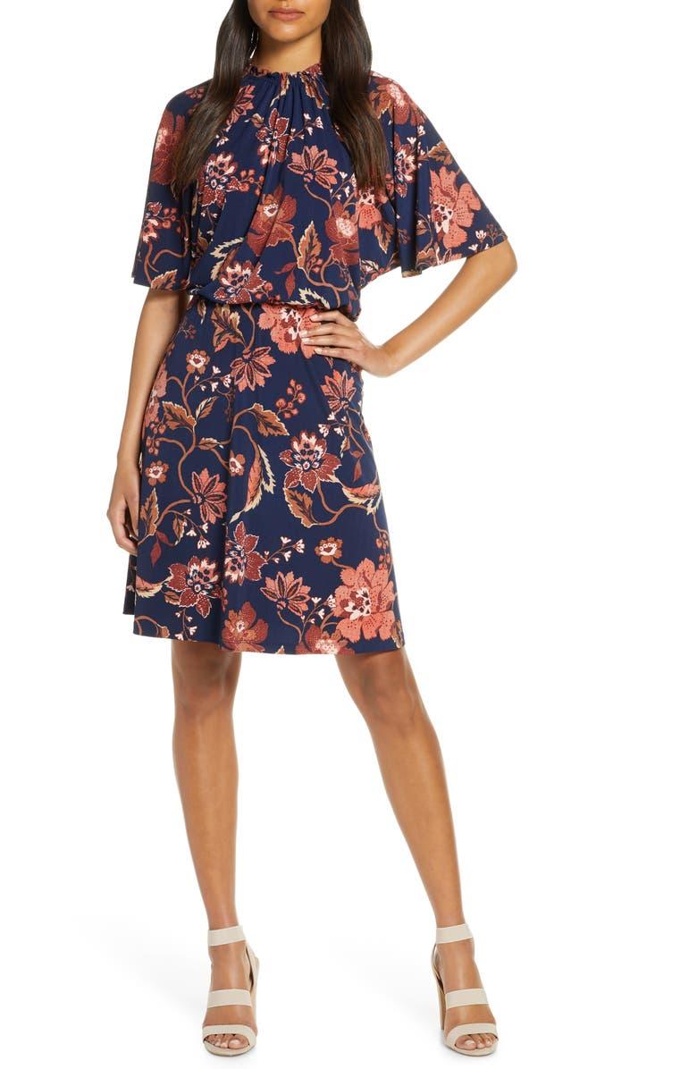MAGGY LONDON Floral A-Line Dress, Main, color, NAVY/ BRICK