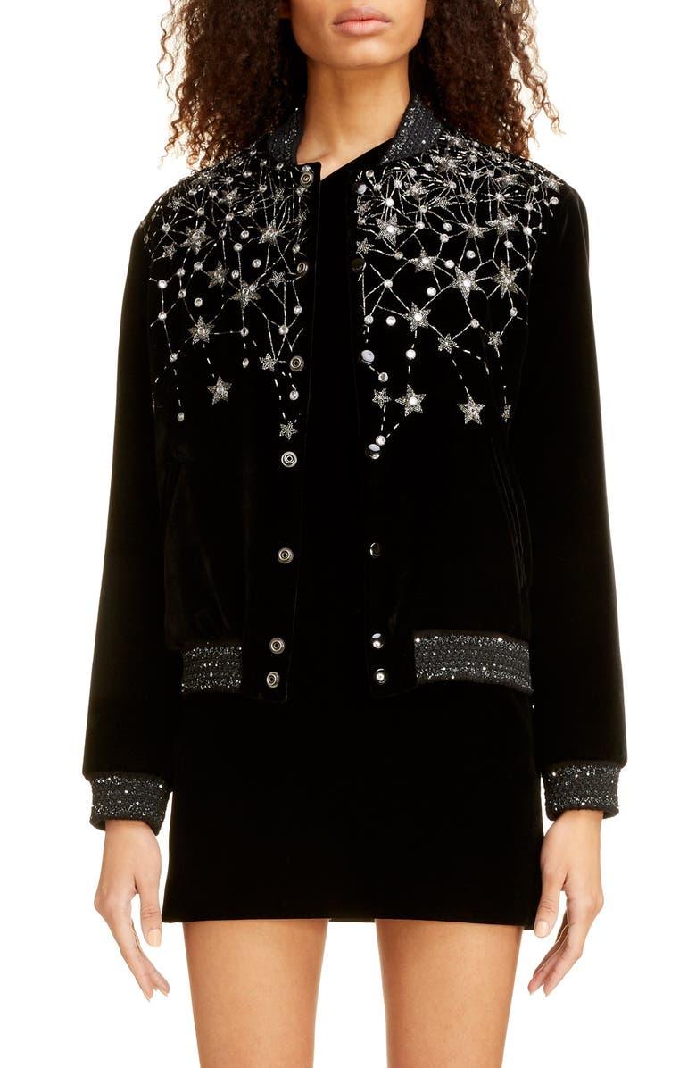 SAINT LAURENT Teddy Embellished Velvet Bomber Jacket, Main, color, NOIR