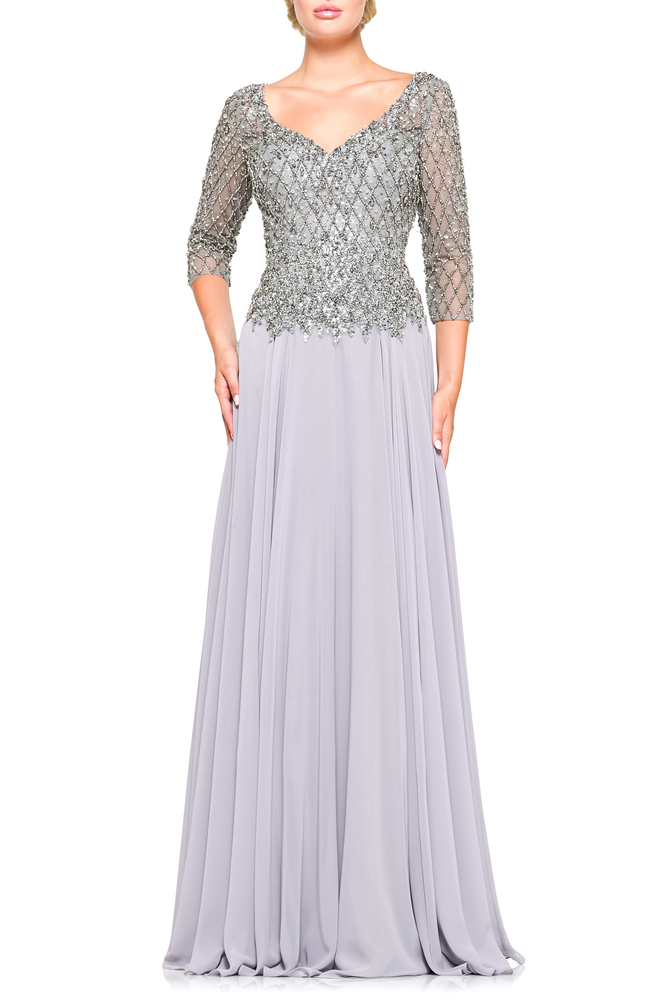 1940s Evening, Prom, Party, Formal, Ball Gowns Womens Marsoni Embellished Chiffon A-Line Gown $372.00 AT vintagedancer.com