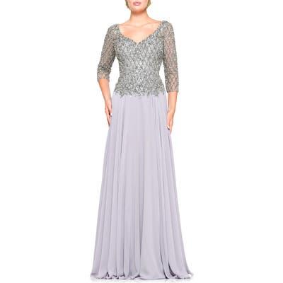 Marsoni Embellished Chiffon A-Line Gown, 2 (similar to 2) - Metallic