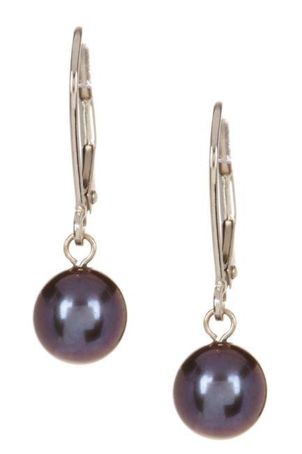 Image of Splendid Pearls 14K White Gold & 7-7.5mm Black Freshwater Pearl Dangle Earrings