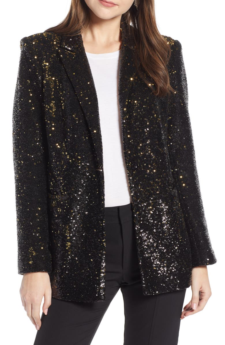 SOMETHING NAVY Sequin Blazer, Main, color, 001