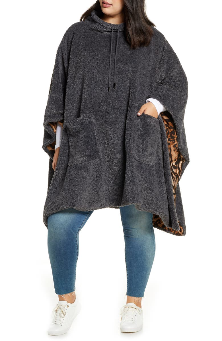 COLDESINA Hooded Poncho, Main, color, CHARCOAL
