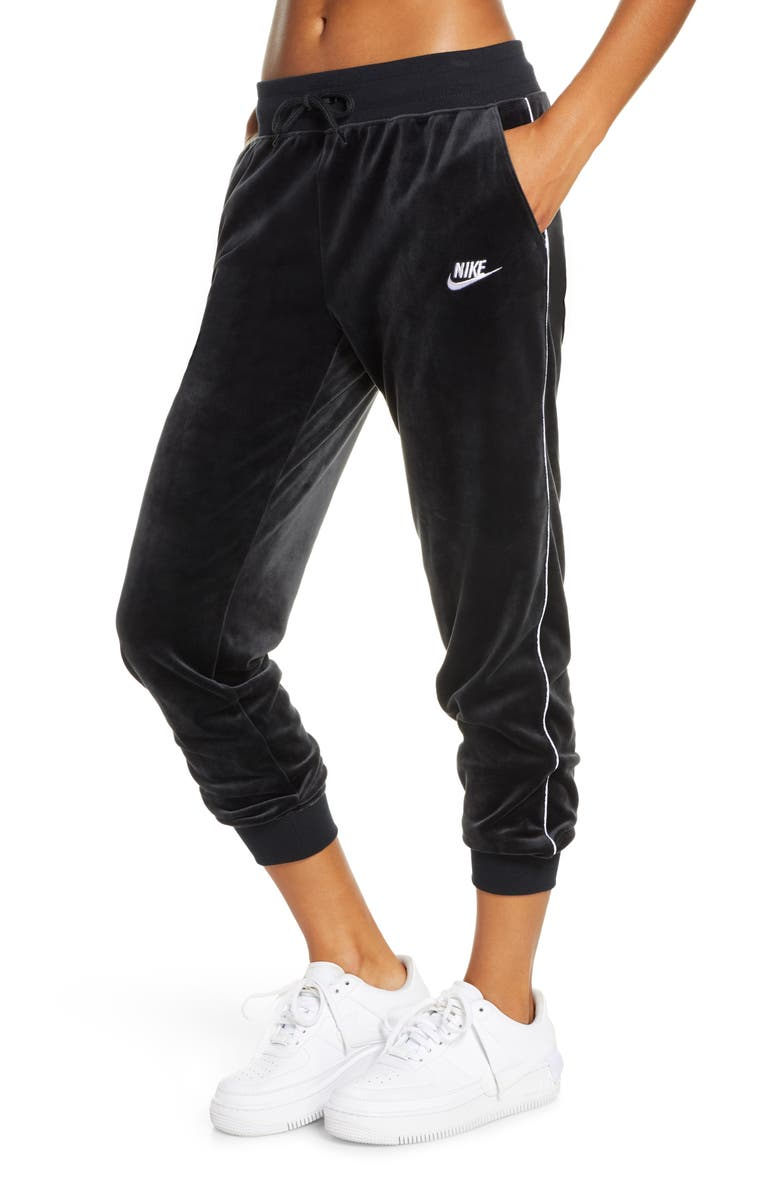 NIKE Sportswear Heritage Velour Jogger Pants, Main, color, BLACK/ WHITE/ WHITE