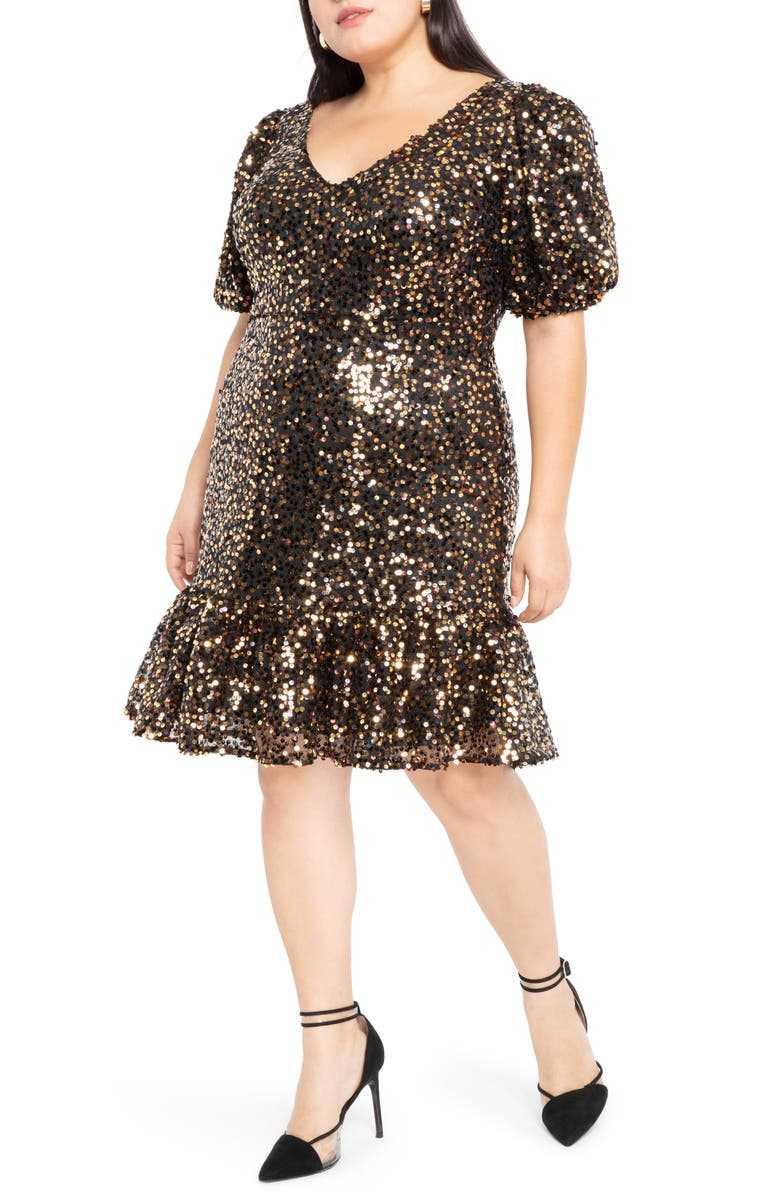 ELOQUII Sequin Puff Sleeve Fit & Flare Dress, Main, color, BROWN/ BLACK/ GOLD METALLIC