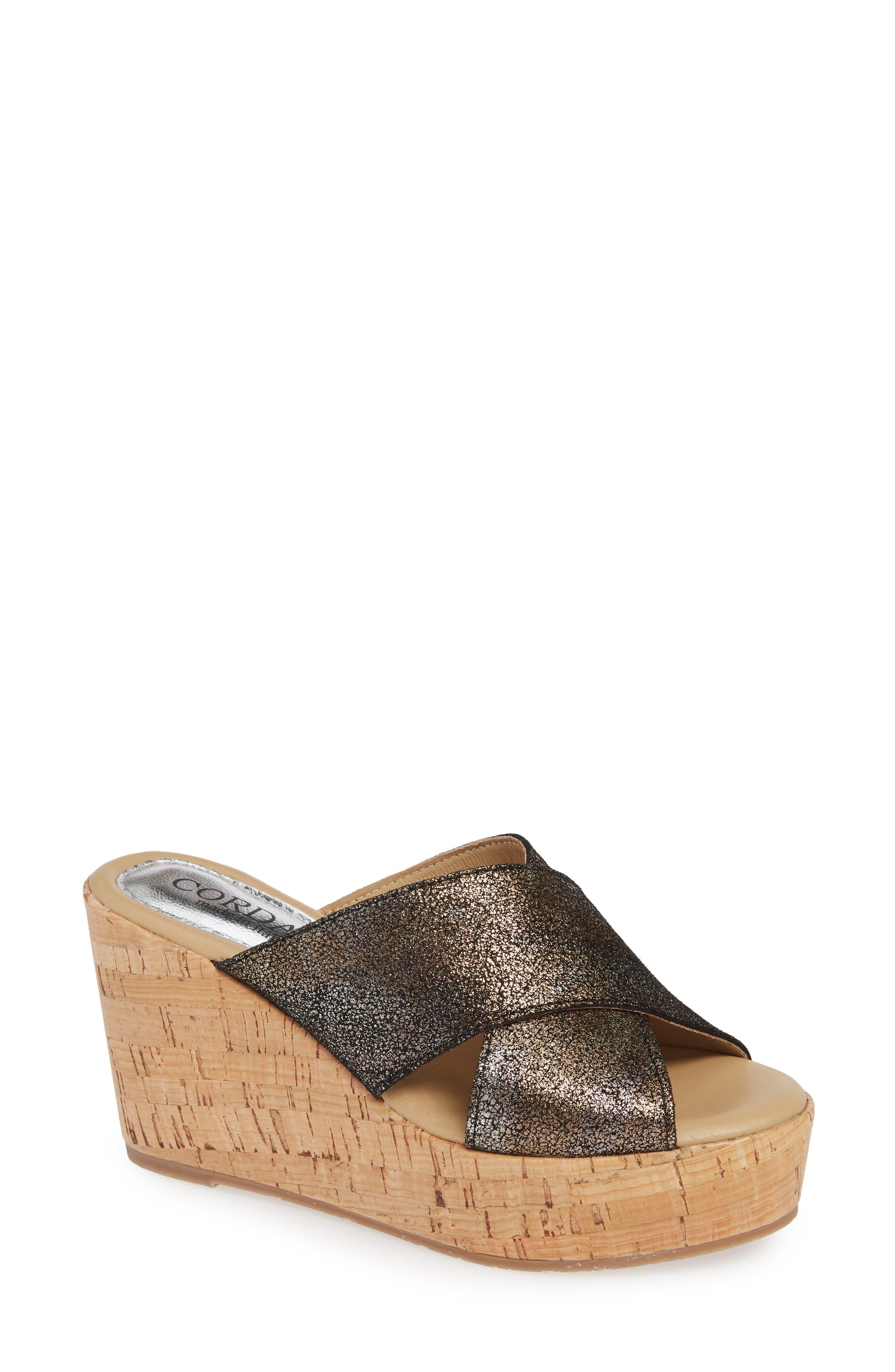 Cordani Jan Platform Wedge Slide Sandal - Metallic