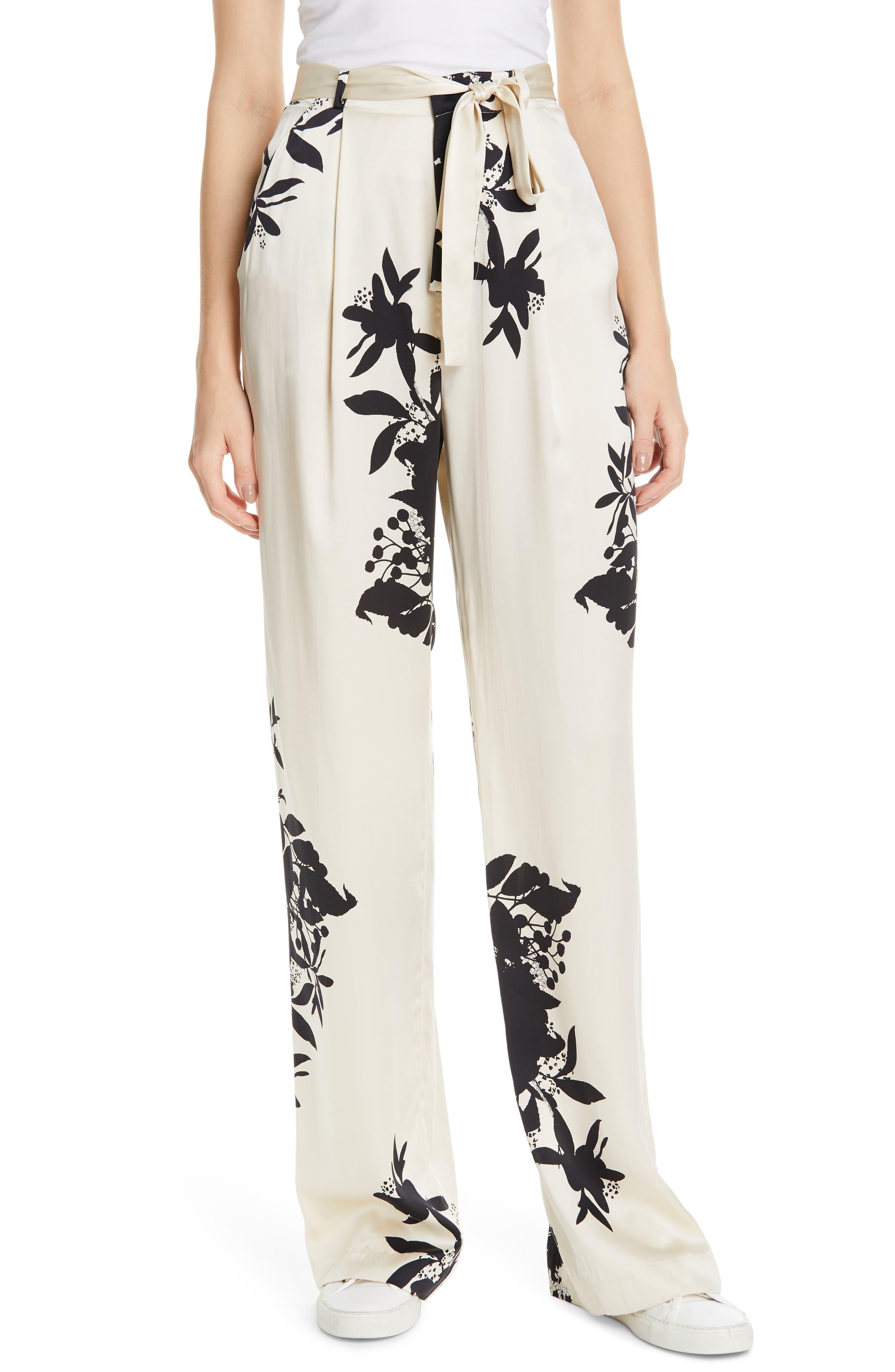 Evonne Tie Waist Silk Blend Pants, Main, color, ECRU TRUE