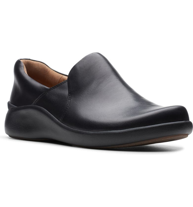 CLARKS<SUP>®</SUP> Un Loop 2 Slip-On Flat, Main, color, BLACK LEATHER