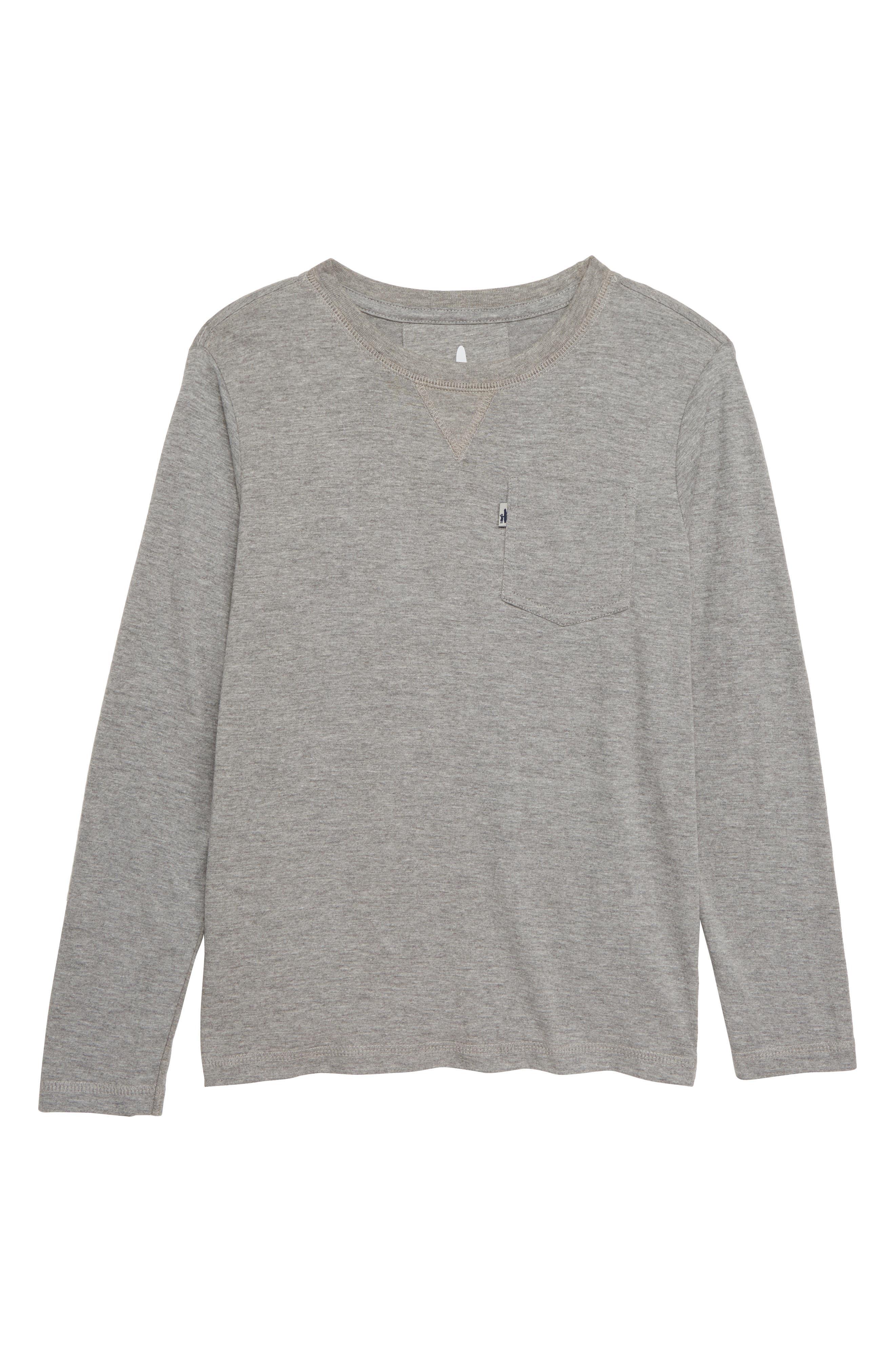 Boys JohnnieO Matty LongSleeve Pocket TShirt Size 10  White