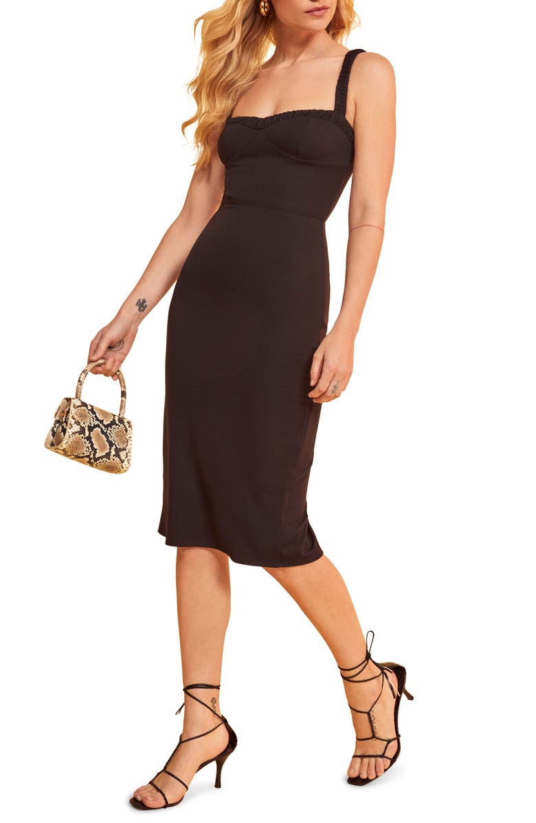 REFORMATION Napoli Sweetheart Neck Dress, Main, color, BLACK