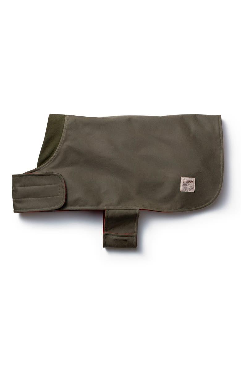 FILSON 'Shelter' Water Repellent Reversible Dog Coat, Main, color, OTTER GREEN