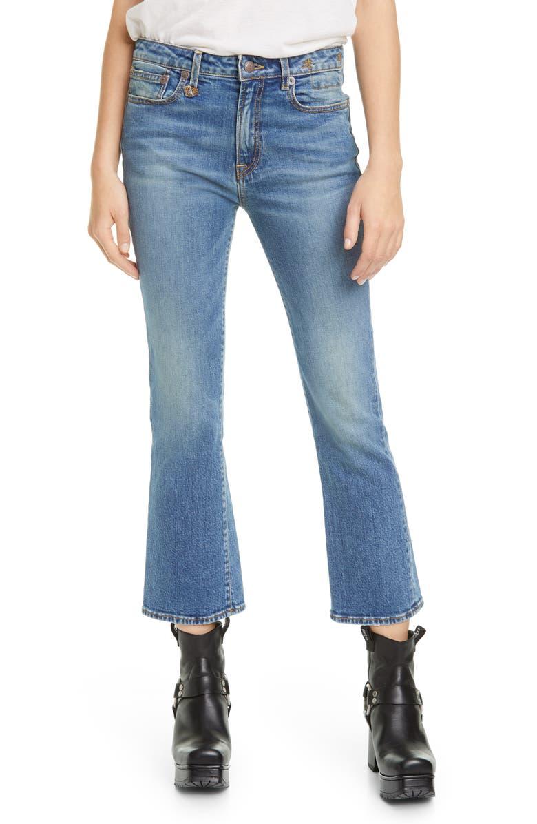 R13 High Waist Kick Fit Crop Jeans, Main, color, JASPER STRETCH