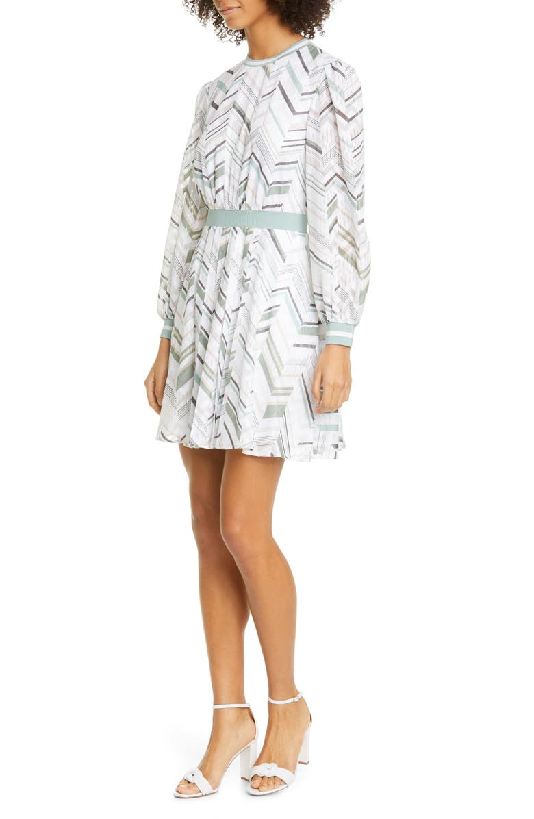 TED BAKER LONDON Fleuura Everglade Chevron Stripe Long Sleeve Dress, Main, color, IVORY