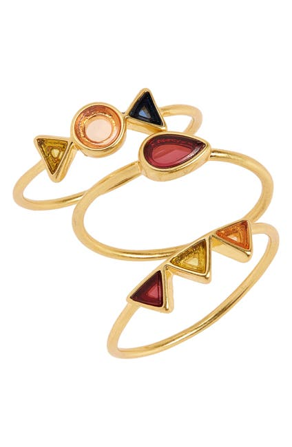 Image of Madewell Gemstone Stacking Rings - Set of 3