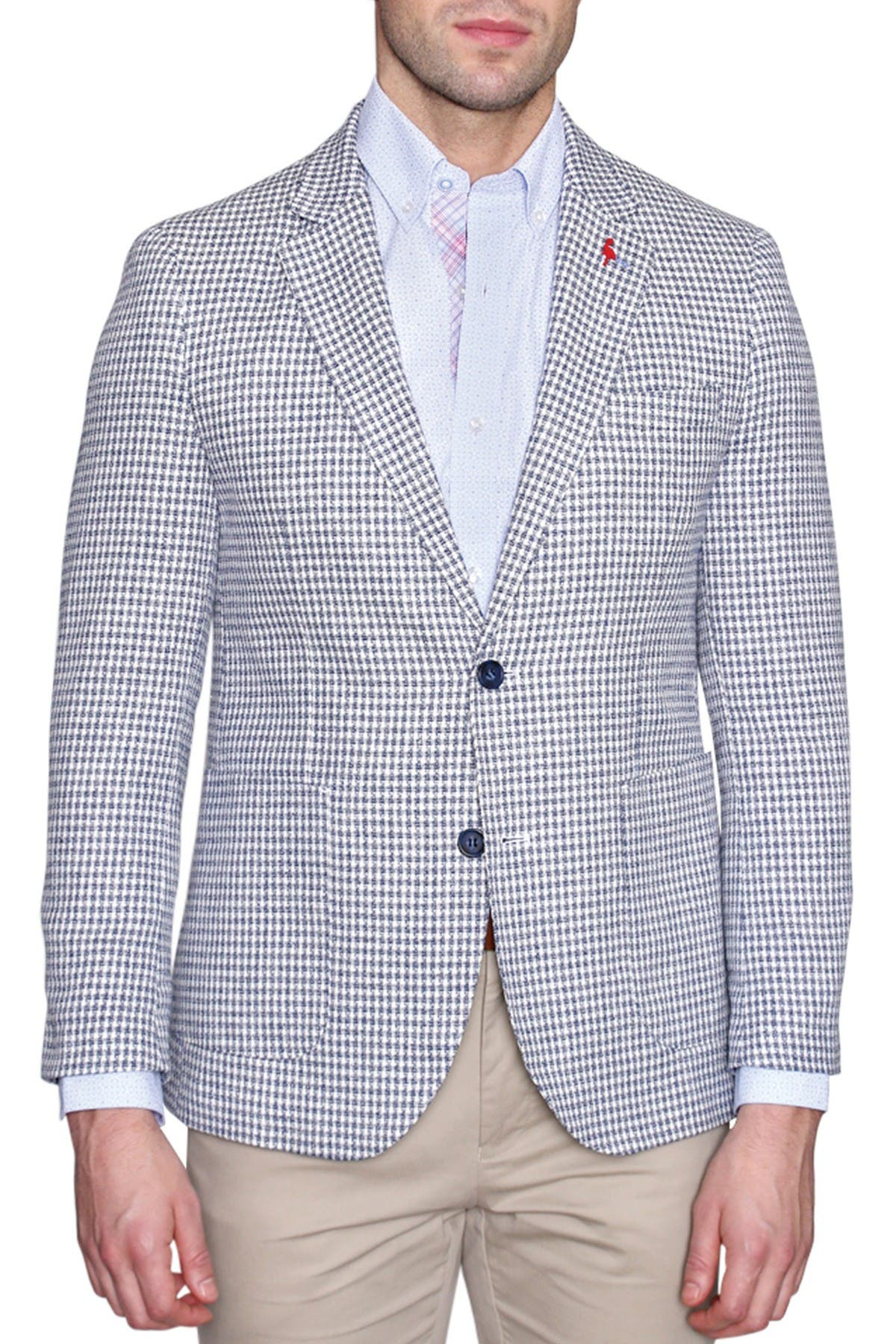 Image of TailorByrd White Houndstooth Two Button Notch Lapel Modern Fit Sport Coat