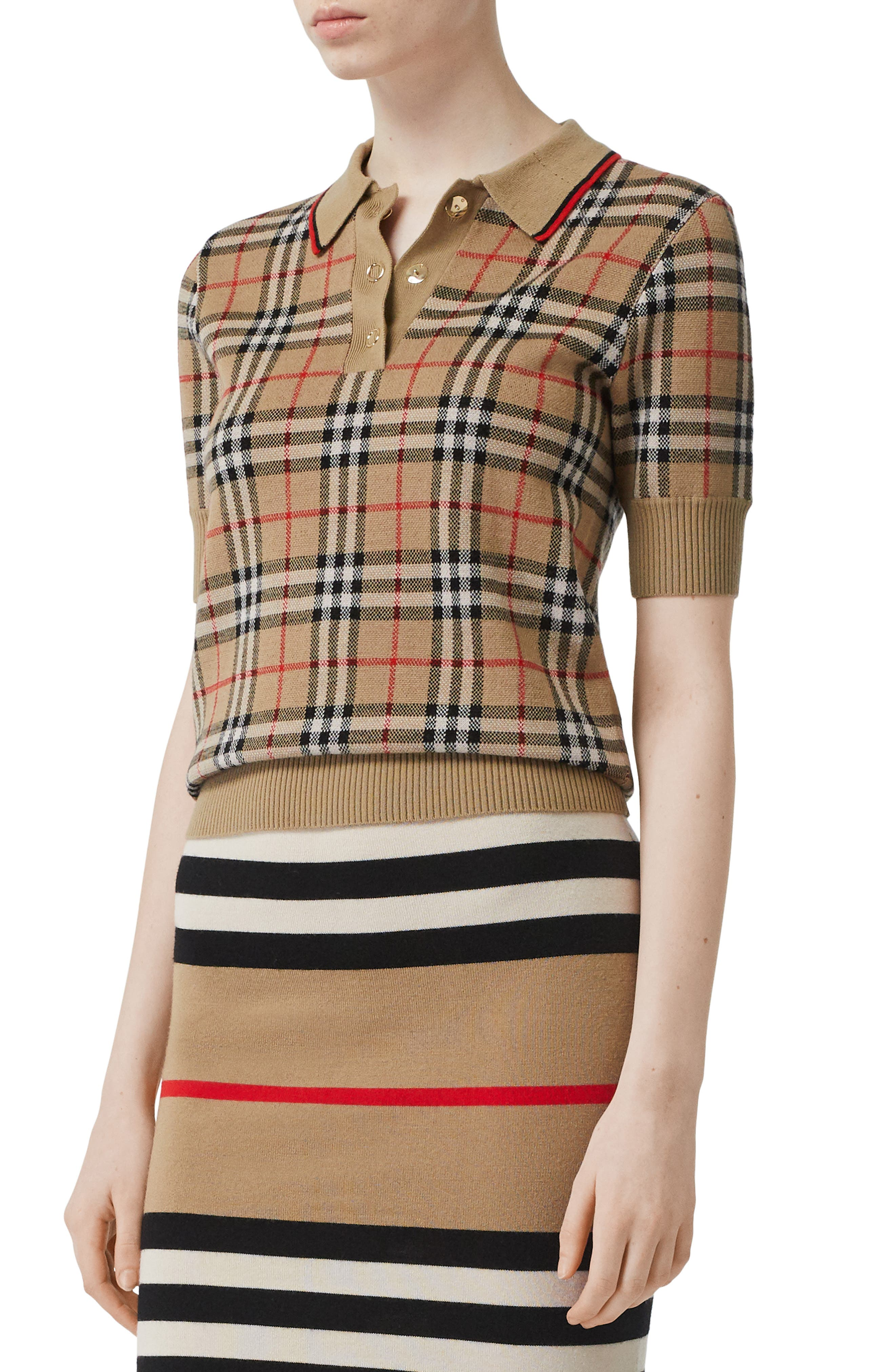 Burberry Chatterton Archive Check Merino Wool Polo Sweater, Beige