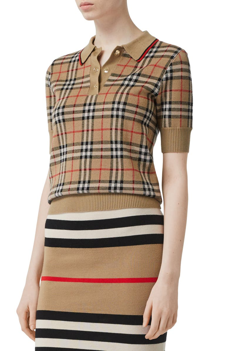 BURBERRY Chatterton Archive Check Merino Wool Polo Sweater, Main, color, ARCHIVE BEIGE