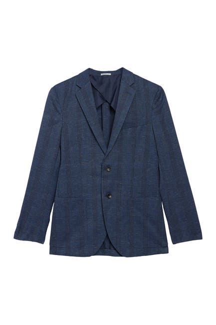 Image of Nordstrom Rack Blue Plaid Two Button Notch Lapel Sport Coat