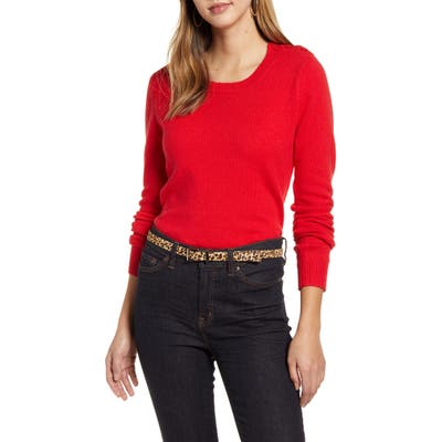1901 Shoulder Button Cotton & Wool Blend Crewneck Sweater, Red