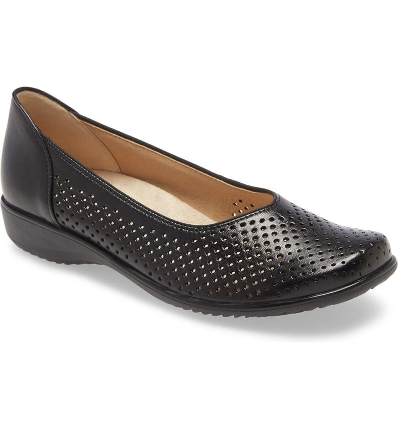 ARA Avril Perforated Flat, Main, color, BLACK LEATHER